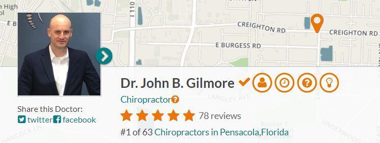 dr gilmore ratemds #1 ranked chiropractor in pensacola